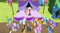 Apple Bloom and Orchard Blossom about to sing S5E17