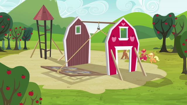 File:Applejack, Big McIntosh, Apple Fritter and Meadow Song raising the barn S3E03.png