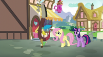 Fluttershy and Discord leaving Twilight S5E22