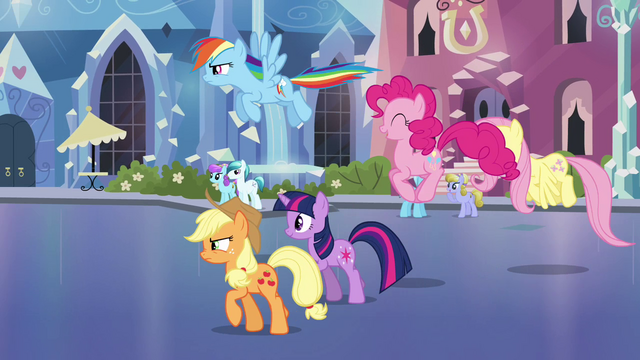 File:Main ponies head back to the station S03E12.png