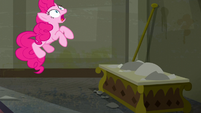 Pinkie jumping and about to sneeze S6E9