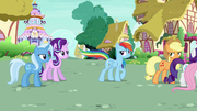 Rainbow Changeling whips her tail at Starlight and Trixie S6E25