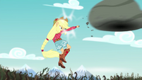 Applejack punches the boulder at the bramble wall EG4
