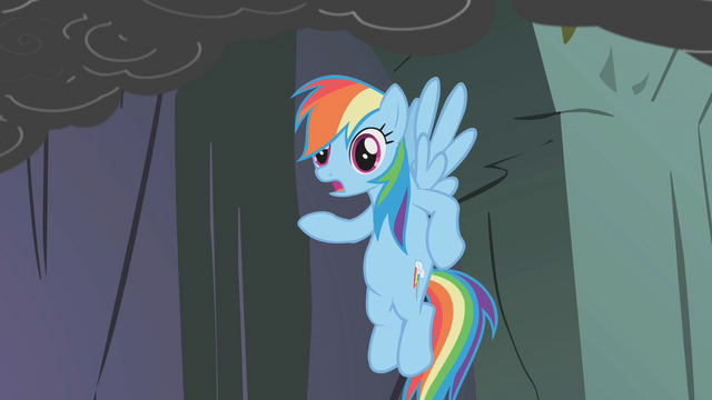 File:Rainbow says Fluttershy's scared of caves S1E07.png
