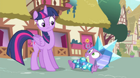 Spike smiling at Twilight from the ground S4E23