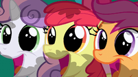 Apple Bloom Scootaloo Sweetie Belle Huge Smile S02E17
