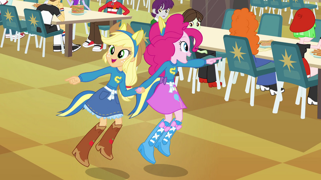 File:Applejack and Pinkie Pie pointing EG.png