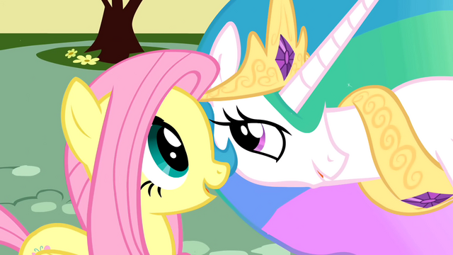 "File:Fluttershy and Celestia ""rather melodramatic"" S01E22.png"