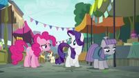 Pinkie Pie returns to Rarity and Maud S6E3
