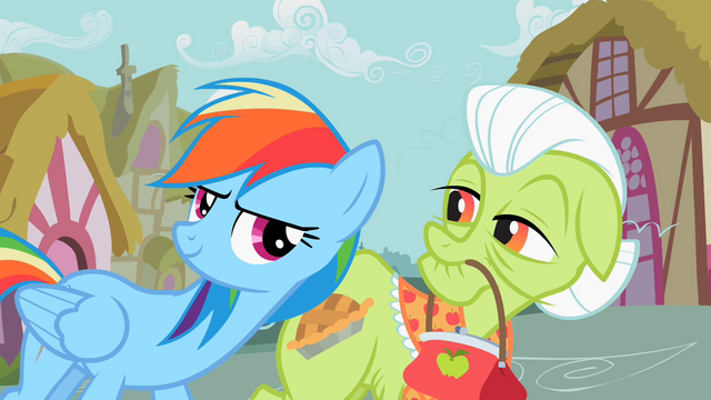 File:Rainbow Dash assisting Granny Smith S2E8.png