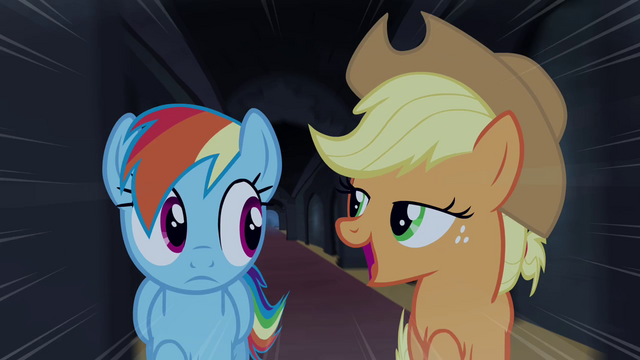 "File:Rainbow and Applejack ""only the most daring pony"" S4E03.png"
