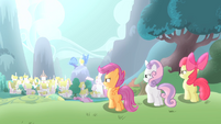 CMC looking towards Ponyville S4E05