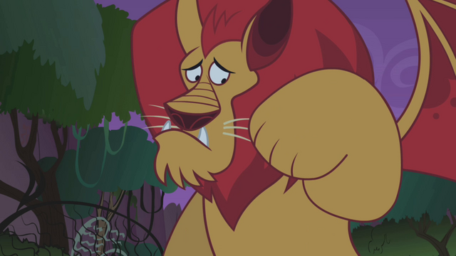 File:Manticore looking at its paw S1E02.png