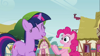Twilight laughing at Pinkie S3E3