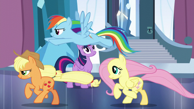 File:Applejack, Rainbow, and Fluttershy runs off S6E2.png