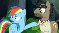 Rainbow pointing at Dr. Caballeron S6E13