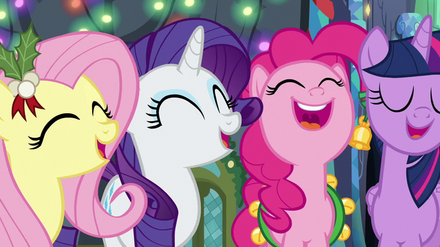 File:Fluttershy, Rarity, Pinkie, and Twilight singing S6E8.png