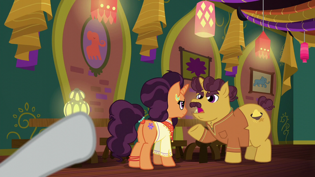 File:Rarity pointing at Coriander and Saffron S6E12.png