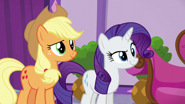 File:Applejack and Rarity looking impish S6E10.png