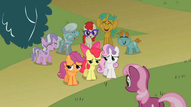 File:Cutie Mark Crusaders being laughed at by the class S2E01.png