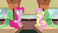 Pinkie and Fluttershy stare at each other in silence S6E18