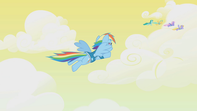 File:Rainbow Dash heading out to join other pegasi S1E11.png