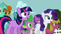 Twilight, Spike and Rarity dancing S2E15