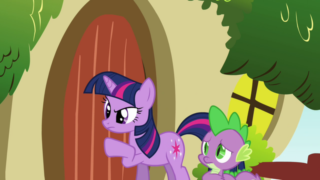 File:Twilight knocking on Fluttershy's door S03E13.png