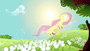 Fluttershy flying past dandelions S2E22.png