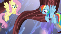 Fluttershy and Rainbow watch Pinkie fall S5E19