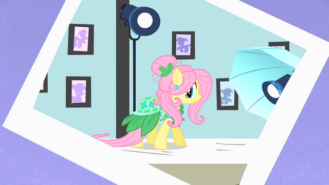 File:Photo of Fluttershy wearing a dress S1E20.png