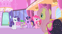 Spike looking at Rarity S1E20
