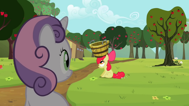 File:Sweetie Belle looking at Apple Bloom S2E05.png