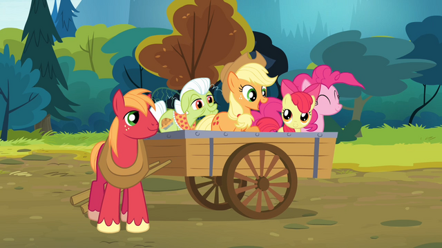 File:Pinkie Pie and the Apples on the wagon S4E09.png