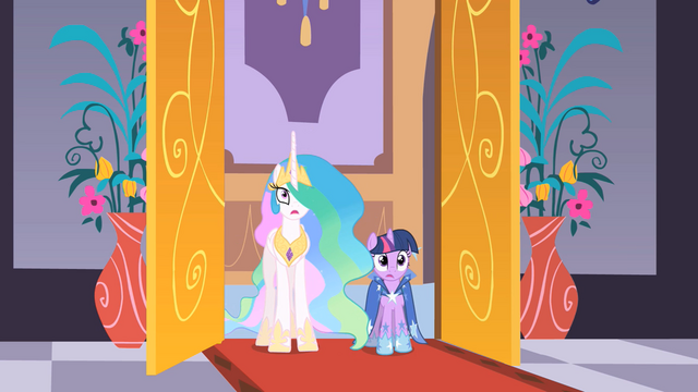 File:Celestia and Twilight enter the destroyed ballroom S01E26.png