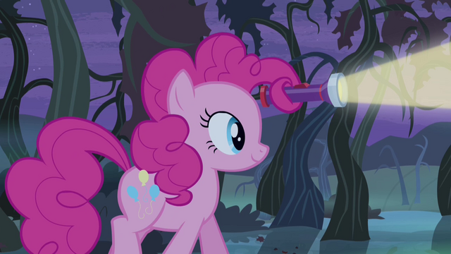 File:Pinkie Pie holding flashlight in her mane S4E07.png