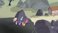 Mane Six outside village S5E01