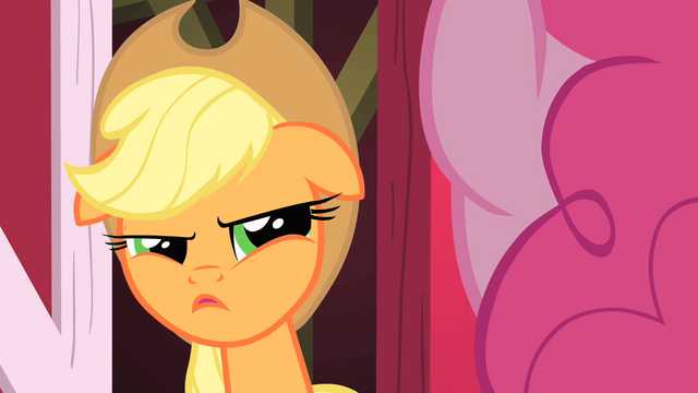 File:Applejack looking at Pinkie suspiciously S1E25.png