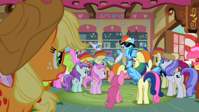 File:Many ponies are admiring Rainbow Dash S2E08.png