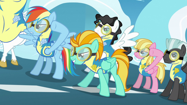 File:Rainbow Dash and Lightning Dust about to take off S3E7.png
