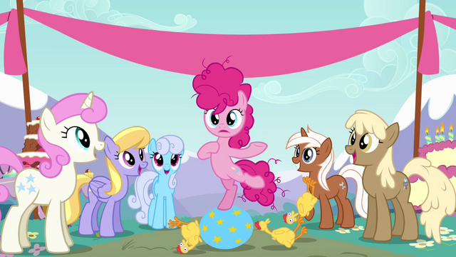 File:Filly Pinkie Pie pointing at herself S4E12.png