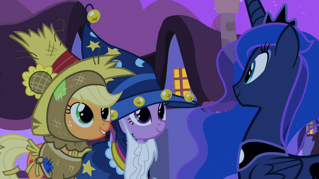 File:Applejack and Twilight with Luna S2E04.png