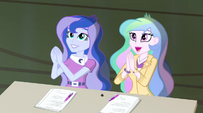 Celestia and Luna applaud Trixie and the Illusions EG2