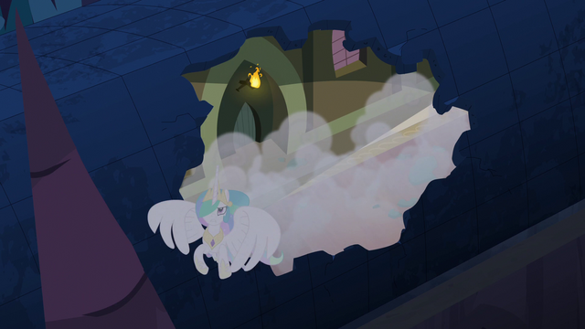 File:Princess Celestia escaping through roof S4E02.png
