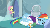 Fluttershy in Rainbow's bedroom door S5E5