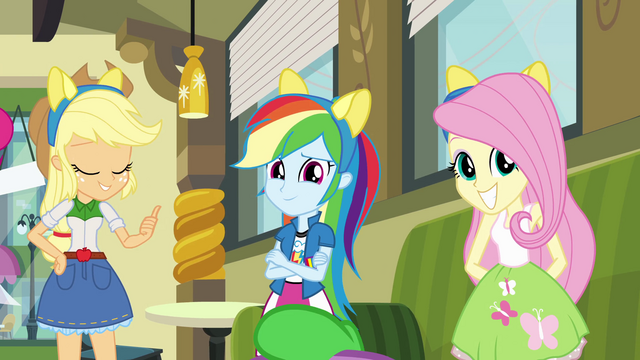 File:Applejack, Rainbow and Fluttershy wearing pony ears EG.png