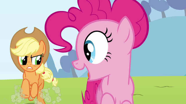 File:Pinkie Pie clone sees Applejack S3E03.png