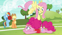 Pinkie Pie diving for the softball S6E18