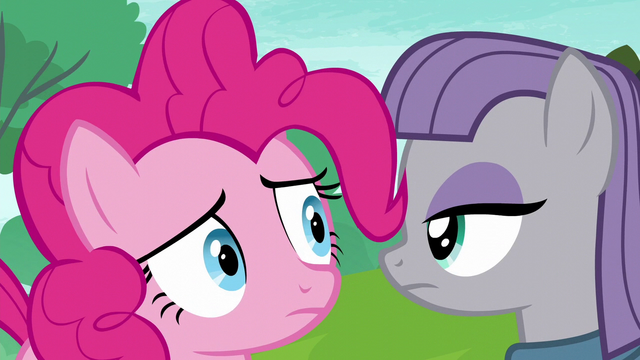 File:Pinkie Pie looking at Rarity behind Maud S6E3.png
