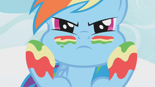 File:Rainbow Dash applying rainbow facepaint S1E7.png